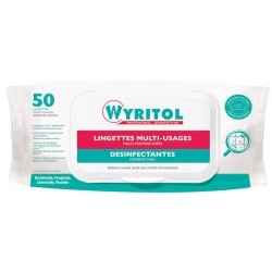 Lot de 12 étuis de 50 lingettes désinfectantes multi-usages Wyritol