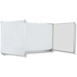 Triptyque Classic NF fond émail e3 blanc projection volets blanc feutre H120xL200 cm