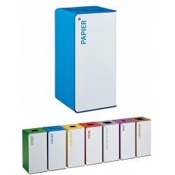 Poubelle de tri sélectif Cube 40L blanc papier avec serrure