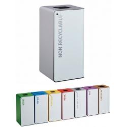 Poubelle de tri sélectif Cube 40L blanc déchets divers avec serrure