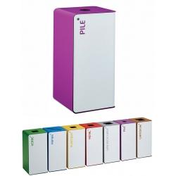 Poubelle de tri sélectif Cube 40L blanc tri piles avec serrure