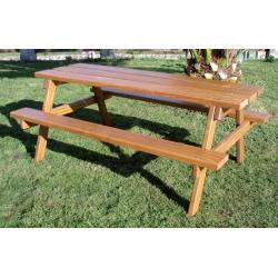 Table de pique nique en bois exotique 200 x 140 cm