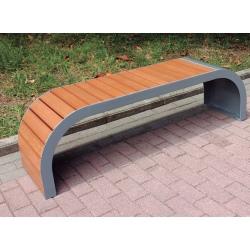 Banc design acier et teck L150 cm