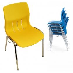 Chaise coque empilable et accrochable Jeanne M4 pieds chromés ø 22 mm