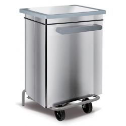 Conteneur mobile à pédale inox brillant 70 litres