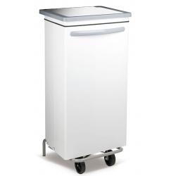 Conteneur mobile à pédale acier blanc 100 litres