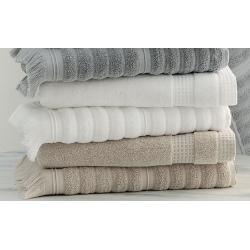 Serviette de toilette 100% coton bio blanc ciselé 50x100 cm 500g