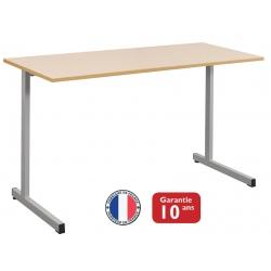 Lot de 16 tables scolaires à dégagement latéral Mona mélaminé chant polypropylène 130x50 cm