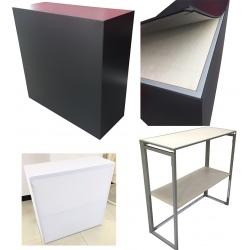 Banque d'accueil pliable compacte avec habillage PVC L100 x P40 x H100 cm