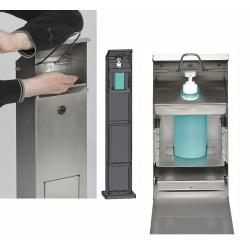 Distributeur de lavage des mains avec poubelle en acier blanc RAL 9016