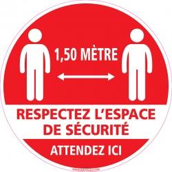 """Signalétique adhésif sol """"RESPECTEZ L'ESPACE DE SECURITE"""" ø25 cm"""