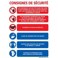 "Signalétique adhésif mur ""CONSIGNES DE SECURITE"" L30 x H21 cm"