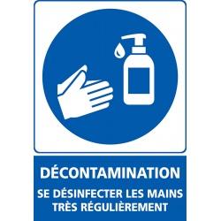 """Signalétique adhésif mur """"DECONTAMINATION"""" désinfection L15 x H21 cm"""