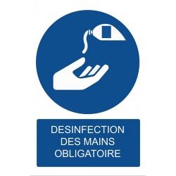 """Lot de 4 panneaux PVC A4 """"DESINFECTION DES MAINS OBLIGATOIRE"""""""