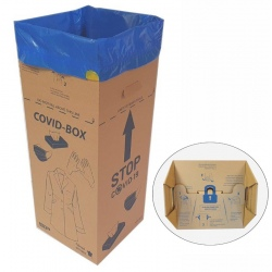 Caisse carton avec sac 50 L pour déchets du COVID-19 (le lot de 10)