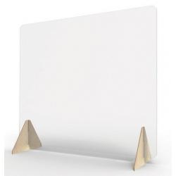 Ecran de protection vitrine sur pied bois H63 x L70 cm