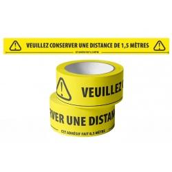 Ruban de marquage adhésif « VEUILLEZ CONSERVER UNE DISTANCE D'1,5M »  50mm x 66 m (le lot de 18)