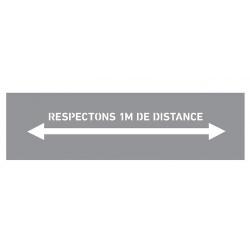 """Marquage au sol pochoir bande """"Respectez 1M de distance"""" pour bombe"""