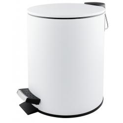 Poubelle à pédale Premium en inox blanc mat 3 L