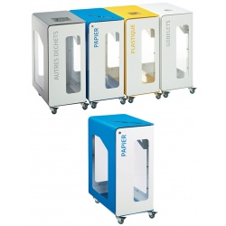 Poubelle de tri sélectif Vigipirate mobile 90L blanc papier avec serrure