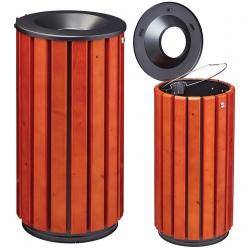 Corbeille extérieure bois FSC et métal couvercle entonnoir 80 L