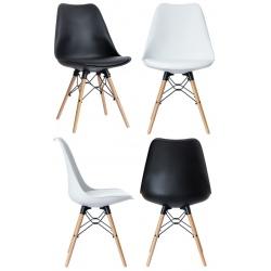Lot de 2 chaises pieds bois et coque polypropylène garnie Dogewood