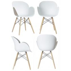 Lot de 2 fauteuils pieds bois et coque polypropylène Kiwood