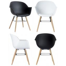 Lot de 2 fauteuils pieds bois et coque polypropylène garnie Wiseman
