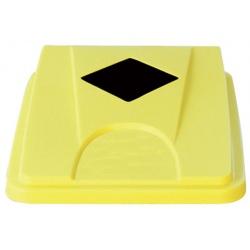 Lot de 6 couvercles jaunes avec ouverture carrée pour collecteur tri selectif 60 L et 80 L