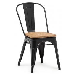 Chaise empilable Atelier acier noir avec assise bois