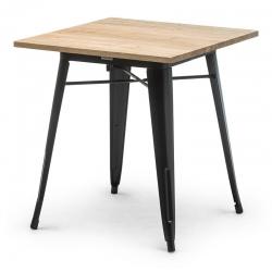 Table de restaurant Atelier en acier noir et plateau bois 70 x 70 cm