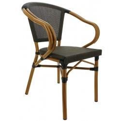 Fauteuil aluminium et textilène Biarritz bronze clair