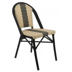 Chaise empilable aluminium et polypropylène tressé Andorre