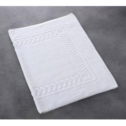 Tapis de bain liteaux chevrons 100% coton blanc 550 g 50x75 cm (le lot de 5)