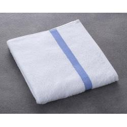 Serviette de toilette Eden 100% coton blanc liteau bleu 400 g 50x90 cm (le lot de 80)