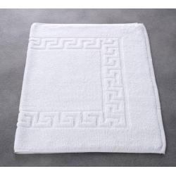Tapis de bain liteaux grecs 100% coton blanc 550 g 50x75 cm (le lot de 5)