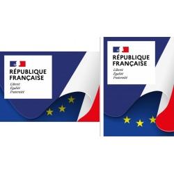 """Plaque de façade """"Liberté Egalité Fraternité"""" A1 (59,4 x 84,1 cm) Modèle Drapeau"""