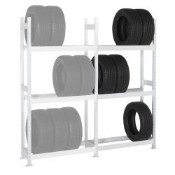 Rayonnage stockage de pneus Elt suivant 3 niveaux L125 x P40 x H200 cm