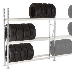 Rayonnage stockage de pneus Elt départ 3 niveaux L150 x P40 x H200 cm