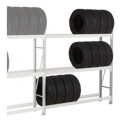Rayonnage stockage de pneus Elt suivant 3 niveaux L150 x P40 x H200 cm