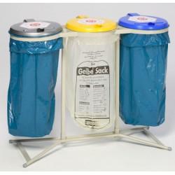 Support 3 sacs stationnaire galvanisé 120L avec couvercle plastique