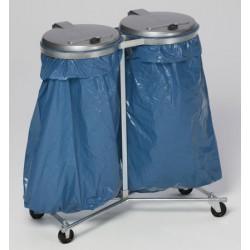 Support 2 sacs mobile 4 roues galvanisé 120L avec couvercle plastique