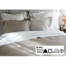 Lot de 3 draps plats 270x300 cm OS 4/4 percale 100% coton blanc