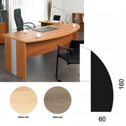 Retour à droite courbe L160 cmxP60 cm pour bureau direction optimum