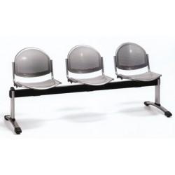 Siège poutre 3 places assise et dossier metal perfore epoxy noir