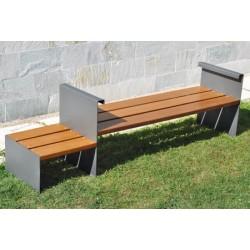 Banquette Cauron et banc latéral acier et bois exotique L2,6 m