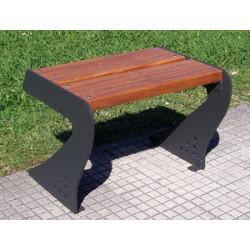 Fauteuil sans dossier Benaize acier et bois exotique L60 cm