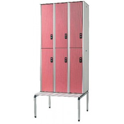 Vestiaire stratifié multicasiers 6 cases L120xP50,5xH192 cm
