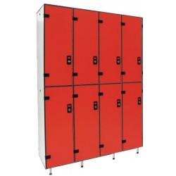 Vestiaire stratifié multicasiers 8 cases L124xP50,5xH192 cm
