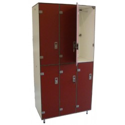 Vestiaire stratifié multicasiers 6 cases L93xP50,5xH192 cm